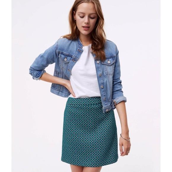 LOFT Dresses & Skirts - LOFT Cotton Jacquard Knit Mini A-line Skirt